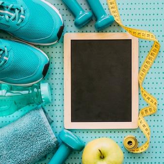 Close up vista concetto di fitness con ardesia