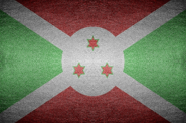 Closeup schermo burundi concetto di bandiera su pelle di pvc per lo sfondo