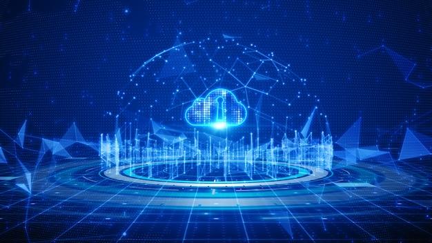 Cloud computing e comunicazione globale per la connessione alla rete di dati digitali