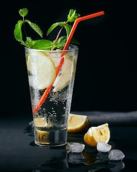 Cocktail di bevande rinfrescanti alcoliche o analcoliche alla menta estiva al limone.