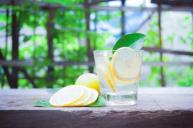 Cocktail fresco di mojito in vetri su di legno con i raggi di sole del fondo tropicale della natura