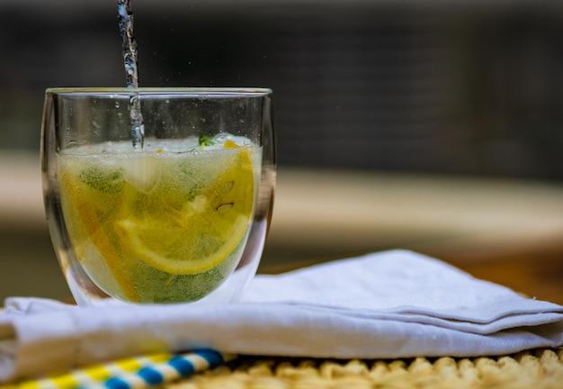 Cocktail gin tonic con limone e menta