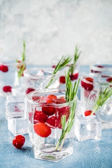 Cocktail invernale con mirtilli rossi e rosmarino