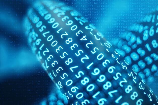 Codice a catena digitale del blocco dell'illustrazione 3d. bassa griglia poligonale di triangoli incandescente nella rete di punti blu