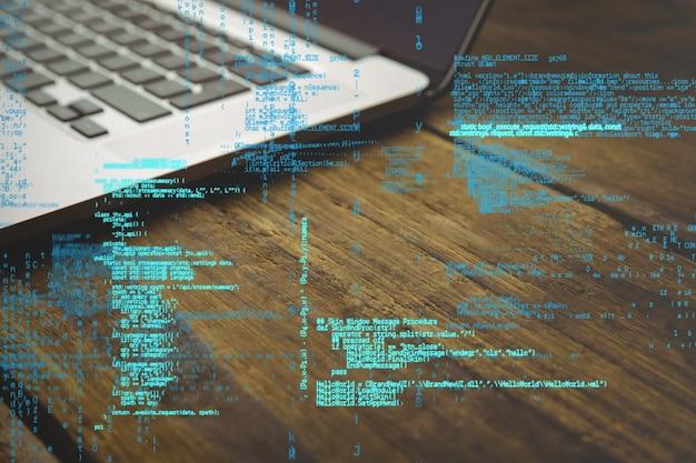 Codice di programmazione con sfondo laptop