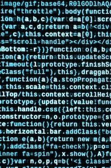 Codice javascript nell'editor di testo. codifica del concetto di cyberspazio. schermo del codice di sviluppo web