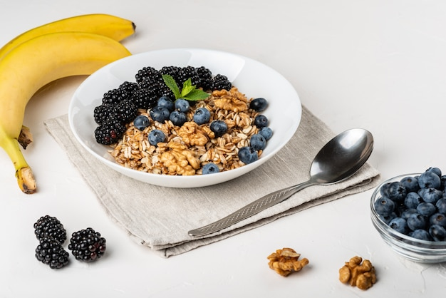 Colazione salutare. granola fatta in casa, muesli, cereali con more, mirtilli, noci, miele e menta in una ciotola bianca