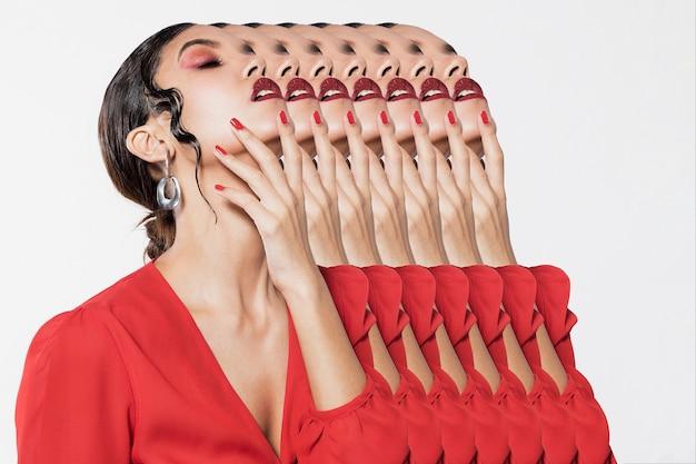 Collage con bella donna moltiplicata