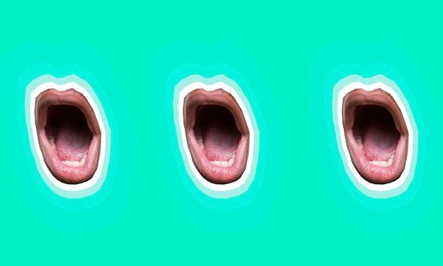 Collage con set di raccolta bocca