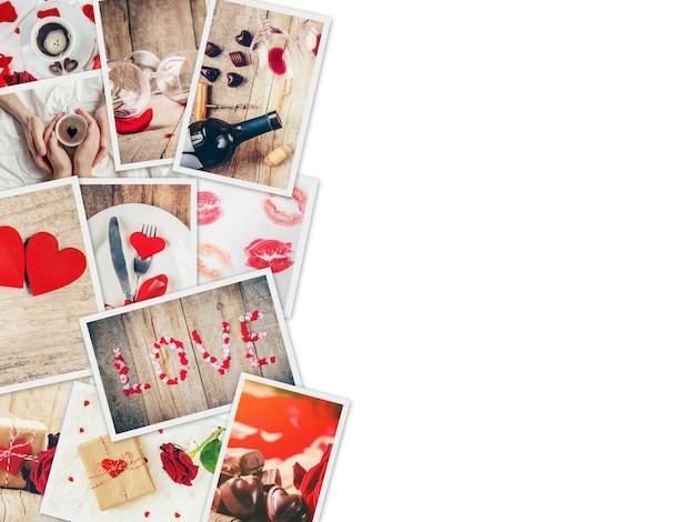 Collage di amore e romanticismo. messa a fuoco selettiva
