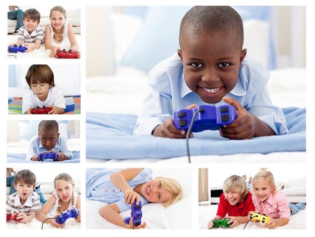 Collage di bambini che giocano ai videogiochi