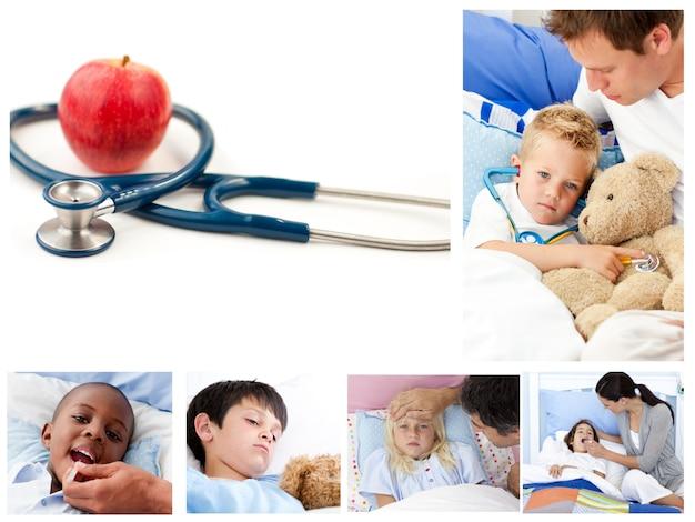 Collage di bambini malati