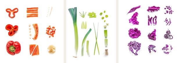 Collage di diverse verdure su sfondo bianco