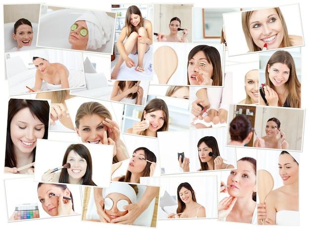 Collage di donne carina facendo il loro trucco