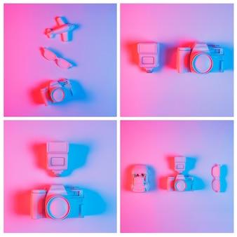 Collage di fotocamera con veicoli e occhiali da vista su sfondo rosa