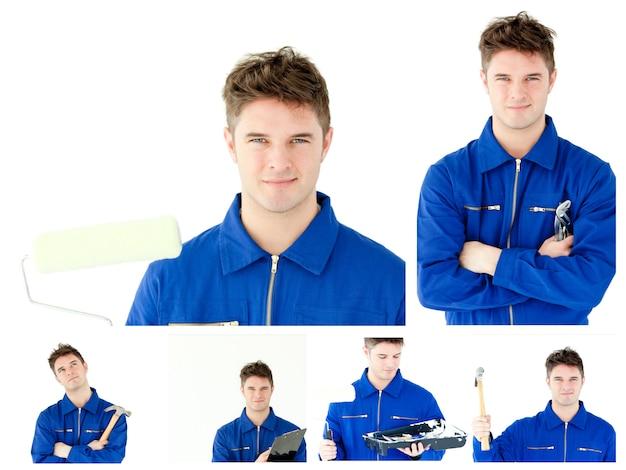 Collage di un giovane armeggiare