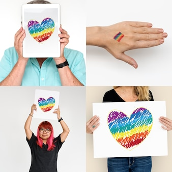 Collage lesbico di diritti umani di uguaglianza di gay lesbica di lgbt