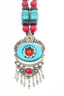 Collana tipica tribù africana con pietra preziosa blu turchese e argento