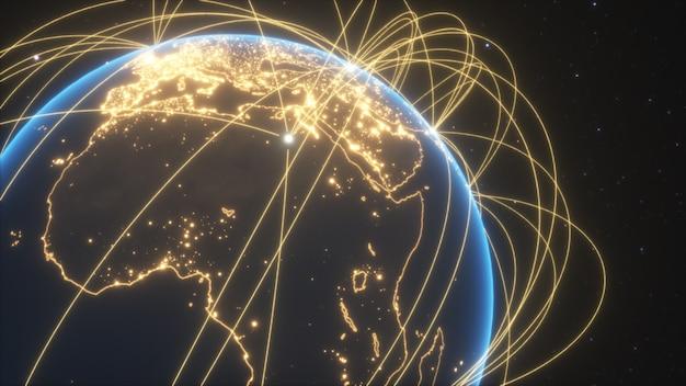 Collegamenti mondiali con le luci della città