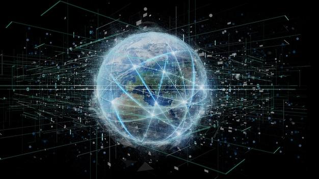 Collegamento intorno ad un globo del mondo isolato su una rappresentazione del fondo 3d
