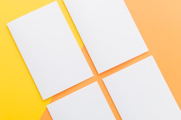 Collezione di brochure rettangolo di primo piano
