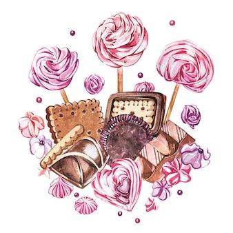 Collezione di dolci dell'acquerello. immagine dell'acquerello di composizioni di dolci, torte e buste.