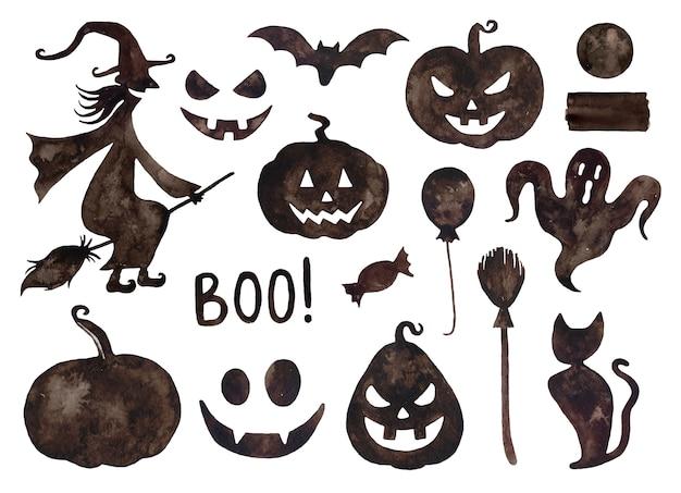 Collezione di halloween ad acquerello.