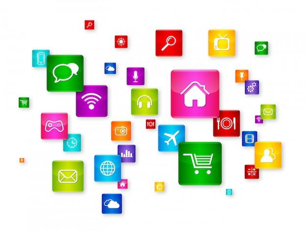 Collezione di icone desktop volante