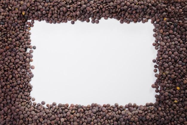 Collezione di lenticchie vista dall'alto con spazio di copia