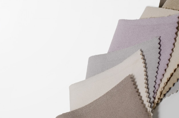 Collezione luminosa di campioni tessili in velluto. tessuto trama di sfondo.