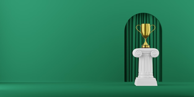 Colonna astratta del podio con un trofeo dorato sui precedenti verdi con la rappresentazione dell'arco 3d