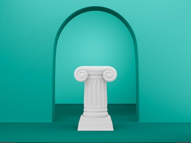 Colonna astratta del podio sui precedenti verdi con l'arco. il piedistallo della vittoria è un concetto minimalista. rendering 3d.