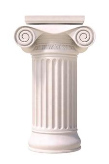 Colonna romana antica isolata su fondo bianco