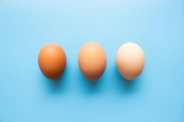 Colore del tono della pelle delle uova da scuro a luminoso su sfondo blu. esempio per confrontare la pelle umana