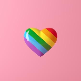 Colore dell'arcobaleno del cuore, concetto creativo minimo, rappresentazione 3d