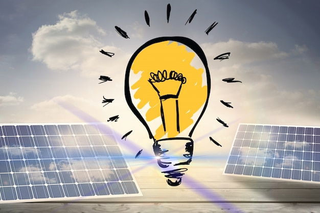 Colore della lampadina con pannelli solari