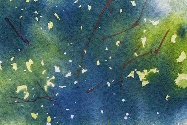 Colori di sfondo blu navy e verde di arte astratta, pittura ad acquerello su tela,