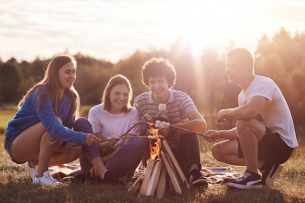 Colpo all'aperto di felici migliori amici si riuniscono per fare picnic, preparare marshmallow in fiamme