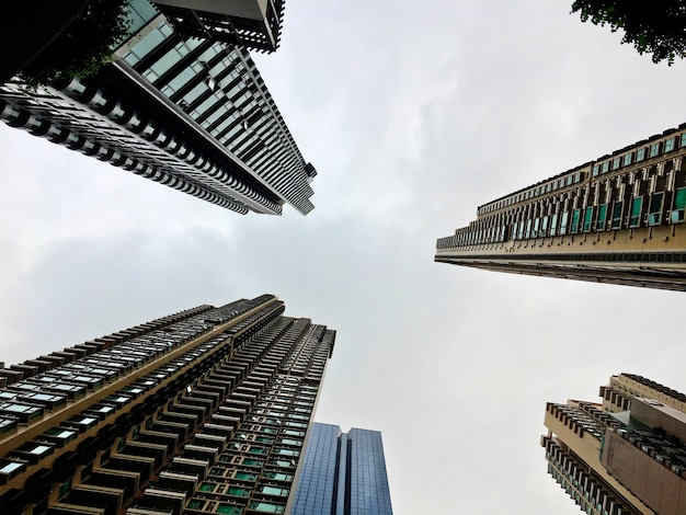 Colpo basso degli edifici di skyscapers degli affari