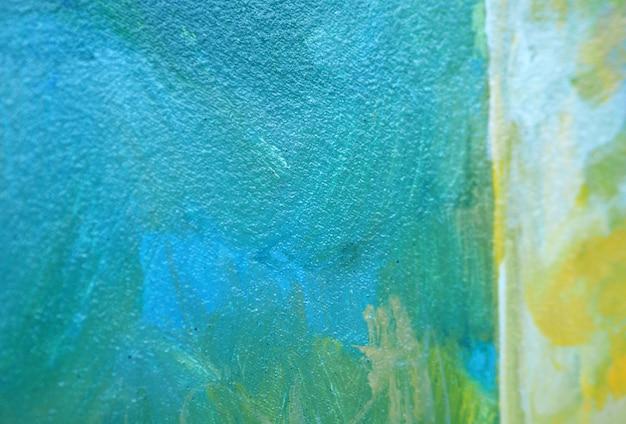 Colpo blu della spazzola della pittura a olio sul fondo e sulla struttura dell'estratto della tela