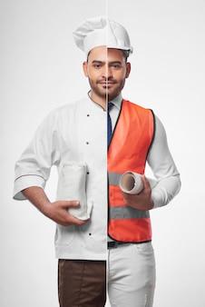 Colpo combinato di un giovane uomo bello ispanico vestito come chef e un architetto professionista che indossa la maglia di sicurezza e l'elmetto protettivo che tiene i modelli professione occupazione hobby cucinare il concetto di cibo.
