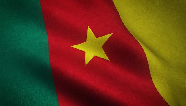 Colpo del primo piano della bandiera realistica del camerun con trame interessanti
