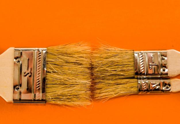 Colpo del primo piano di due pennelli su un'arancia