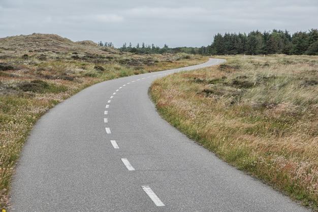 Colpo di alto angolo di una strada di campagna circondata da campi sotto il cielo limpido
