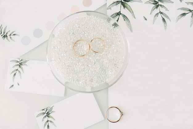 Colpo di macro close-up di fedi nuziali. anelli della sposa e dello sposo
