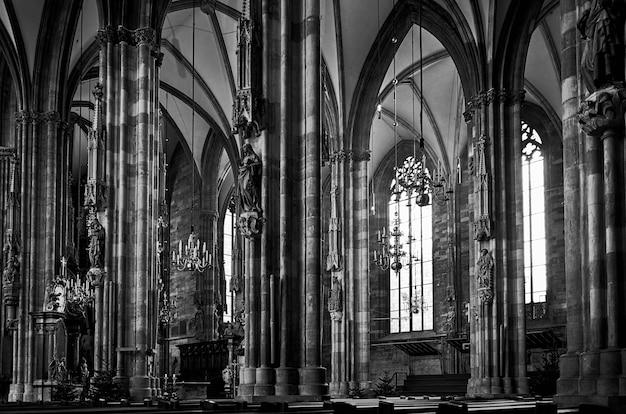 Colpo in scala di grigi della cattedrale di santo stefano a vienna, austria