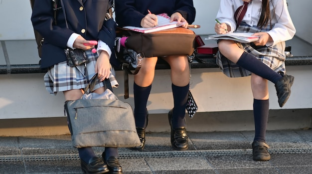 Colpo potato della ragazza dello studente del gruppo che fa a casa lavoro
