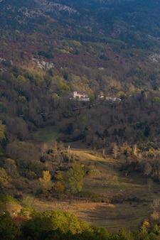 Colpo verticale dell'angolo alto di bello paesaggio in istria, croazia