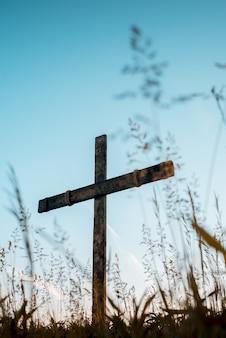 Colpo verticale di angolo basso di una croce di legno fatta a mano in un campo erboso con un cielo blu nel fondo