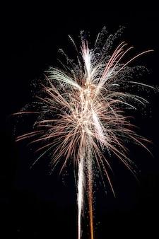 Colpo verticale di un bellissimo fuoco d'artificio che esplode